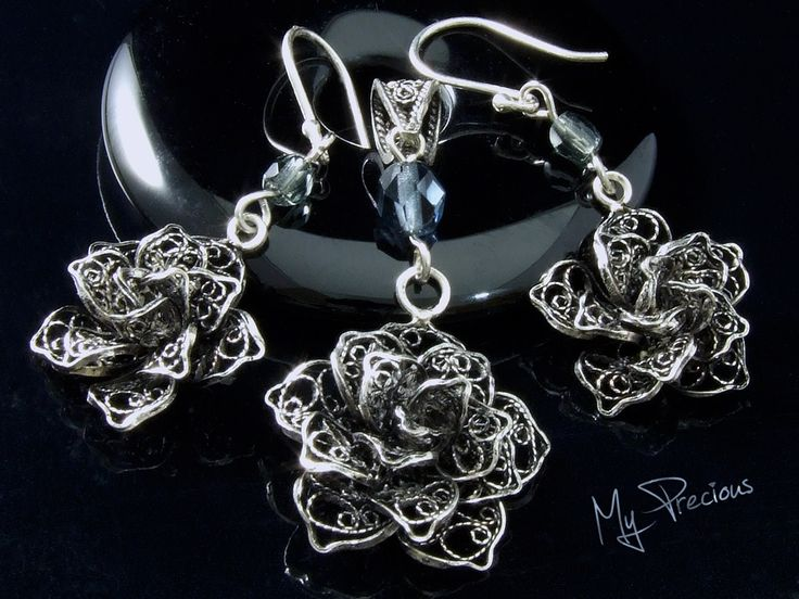 My Precious - Fine silver filigree rose set with Czech fire polished glass beads
