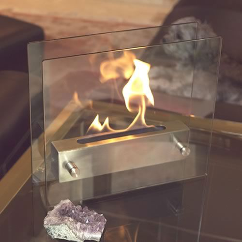 Irradia Brushed Stainless Steel Tabletop Fireplace Tempered Clear Glass