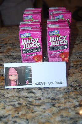 Sweet Child O'Mine: Kalen's Despicable Birthday Party.  Edith's juice box:)