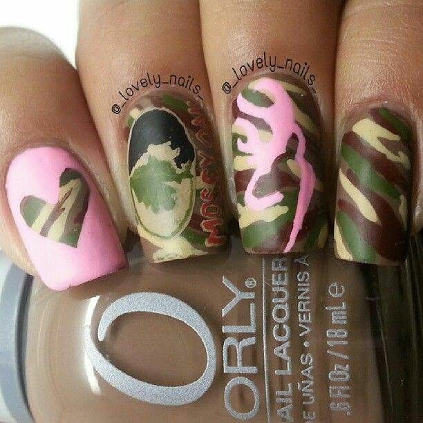 Mossy oak and browning camo nails