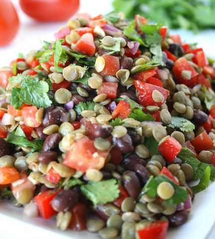 Lentil and black bean salad is chock-full of protein.