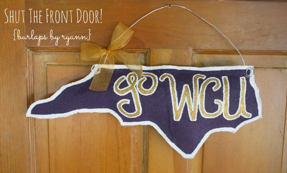 Go Cats! Perfect for decking your door with some NC pride and school spirit!  Western Carolina University Go WCU Burlap Door by BurlapsByRyann