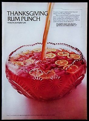 Vintage 1969 Puerto Rican Rum Thanksgiving Punch Magazine Ad | eBay