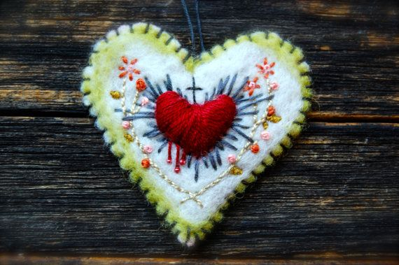 Needle Felted Embroidered Sacred Heart by MarysStudioAndWhimsy  Ex Voto... Sacred Heart