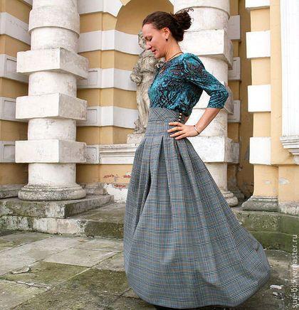 """Юбки ручной работы. Ярмарка Мастеров - ручная работа. Купить Длинная юбка в клетку из шерсти  """"Мэри"""". Handmade. Длинная юбка"""