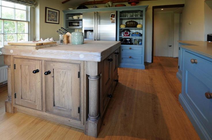 Painted Kitchen with Oak Island Unit.