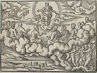Divine Council: Council of gods before the Deluge. Engraving by Virgil Solis for Ovid's Metamorphoses Book I, 162-208. Fol. 4v, image 7.