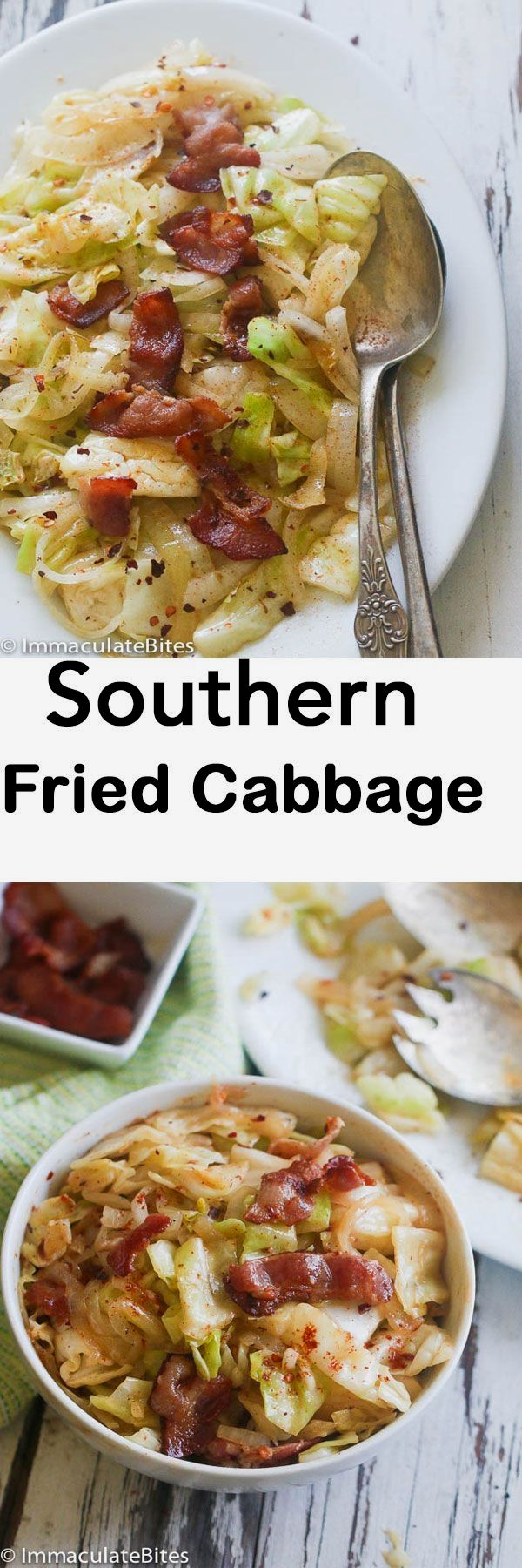Fried Cabbage - Simple, tasty , flavored with garlic and bacon -Ready in less than no time.