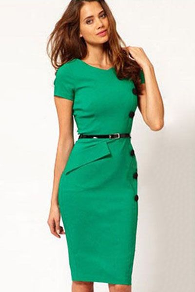 Casual Cap Sleeves Button Belt Decoration Green Midi Dress