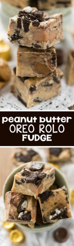 Peanut Butter Oreo Rolo Fudge - this easy fudge recipe has only a few ingredients and is perfect for any fudge lover!: