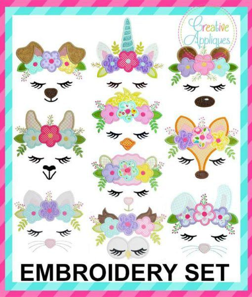 Animal Face Flower Crown Applique Set Craft Me Up Owl