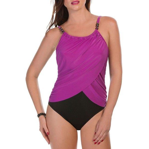 Magicsuit Lisa One-Piece Draped Swimsuit ($156) ❤ liked on Polyvore featuring swimwear, one-piece swimsuits, purple, purple one piece bathing suit, underwire one piece bathing suits, colorblock one piece bathing suit, 1 piece swimsuit and purple swimsuit