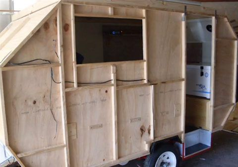homebuilt micro camper alvin travel trailer 02   How to Build a Lightweight, Homemade Camping Trailer with Pop Up Roof
