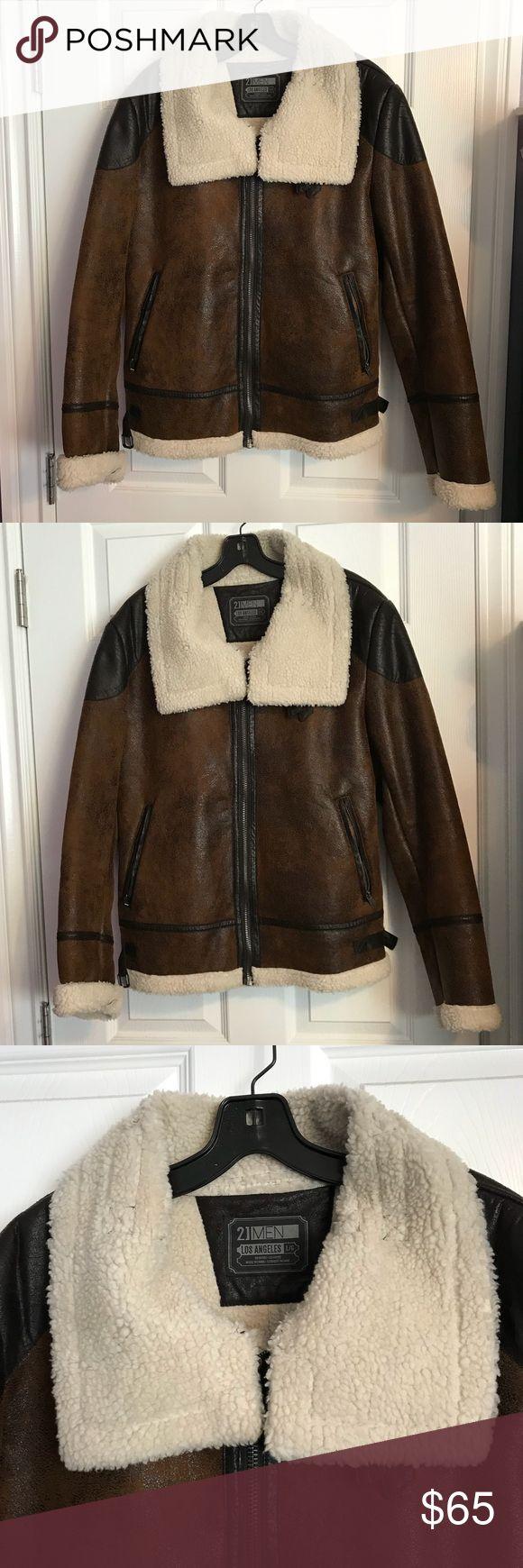 "Brown Bomber Jacket Fleece Collar Forever 21 Large Brown bomber jacket. Faux leather, faux fleece. 21.5"" armpit to armpit, 26.5"" sleeve length, 26"" shoulder to hem. 21MEN Jackets & Coats Bomber & Varsity"