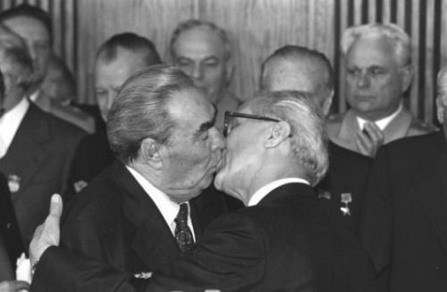 Leonid Brezhnev and Erich Honecker giving each other the Socialist Fraternal Kiss, Berlin, 1979