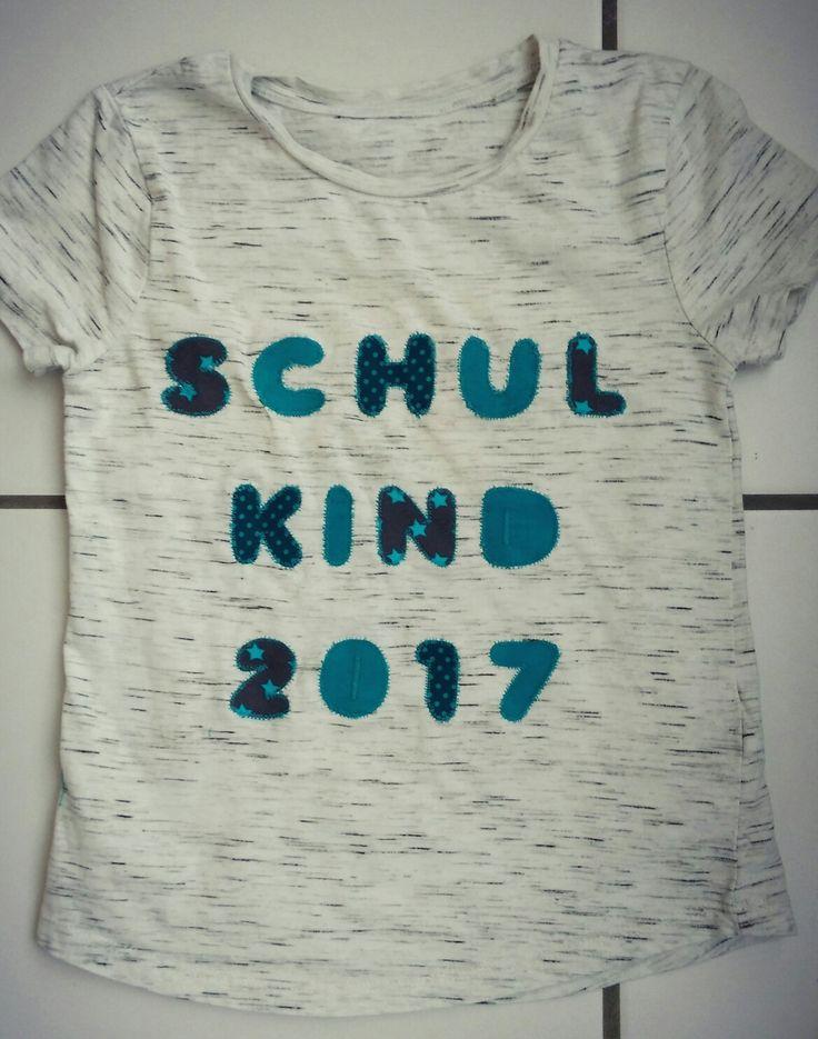 T-Shirt als Geschenk zum Schulanfänger. Schulkind 2017. Applikationen nähen.