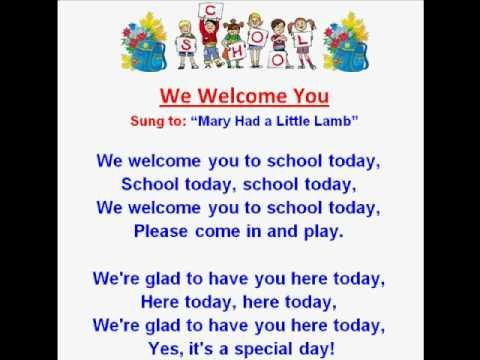 ▶ We Welcome You (Back to School Rhymes & Songs) - YouTube  Sing: We Welcome You to Nursery