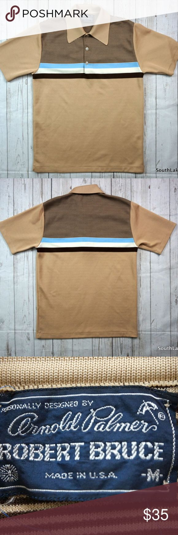 """Vintage 70s Arnold Palmer Polo Shirt Robert Bruce Vintage 70s Arnold Palmer Polo Shirt Robert Bruce  Brand:    Robert Bruce Color:      Beige/White/Beige Size:       Medium Material:  Polyester  Detailed Measurements: (Front Side of Garment has been measured laying flat on a table)  Sleeves:..............    9"""" inches  Chest:.................  19"""" inches Length:…..........    28"""" inches   Ships in 1 business day or less from a clean and smoke free environment. Bundle to Save!  Thanks! Arnold…"""