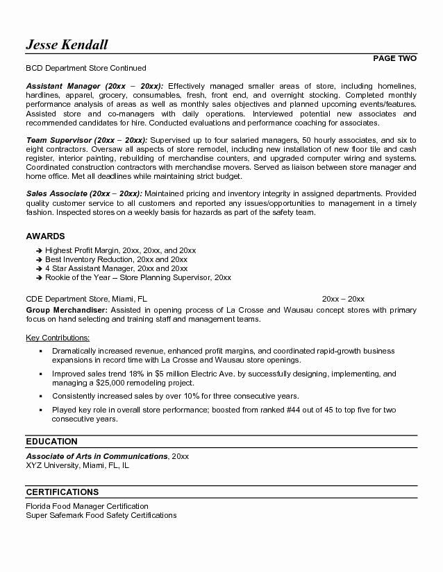 25 Assistant Store Manager Resume With Images Job Resume