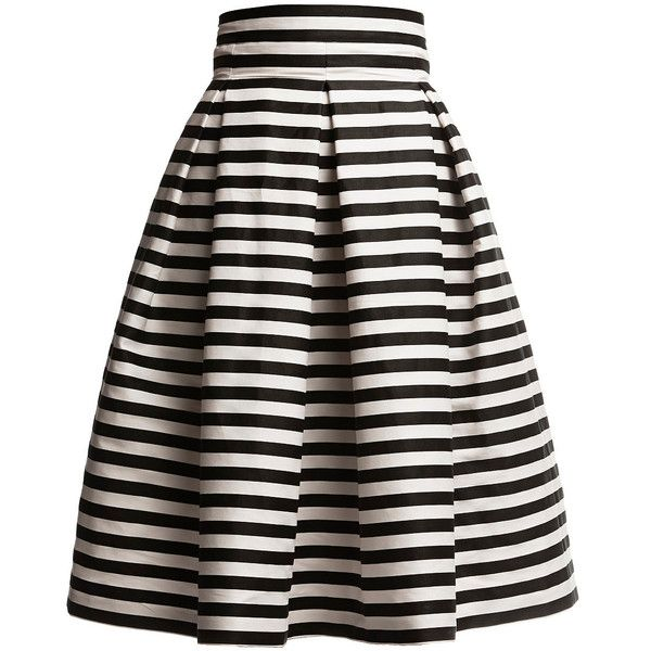 Rumour London - Amalfi Striped Midi Skirt ($190) ❤ liked on Polyvore featuring skirts, bottoms, gonne, saias, cotton summer skirts, black knee length skirt, black striped skirt, black fitted skirt and summer skirts