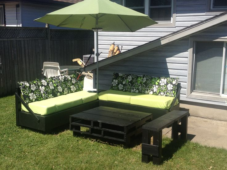 Homemade patio furniture my husband and I made A lot of work but well worth