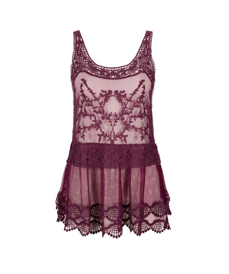 Embroidered Sheer Mesh TankEmbroidered Sheer Mesh Tank, Purple Cherry