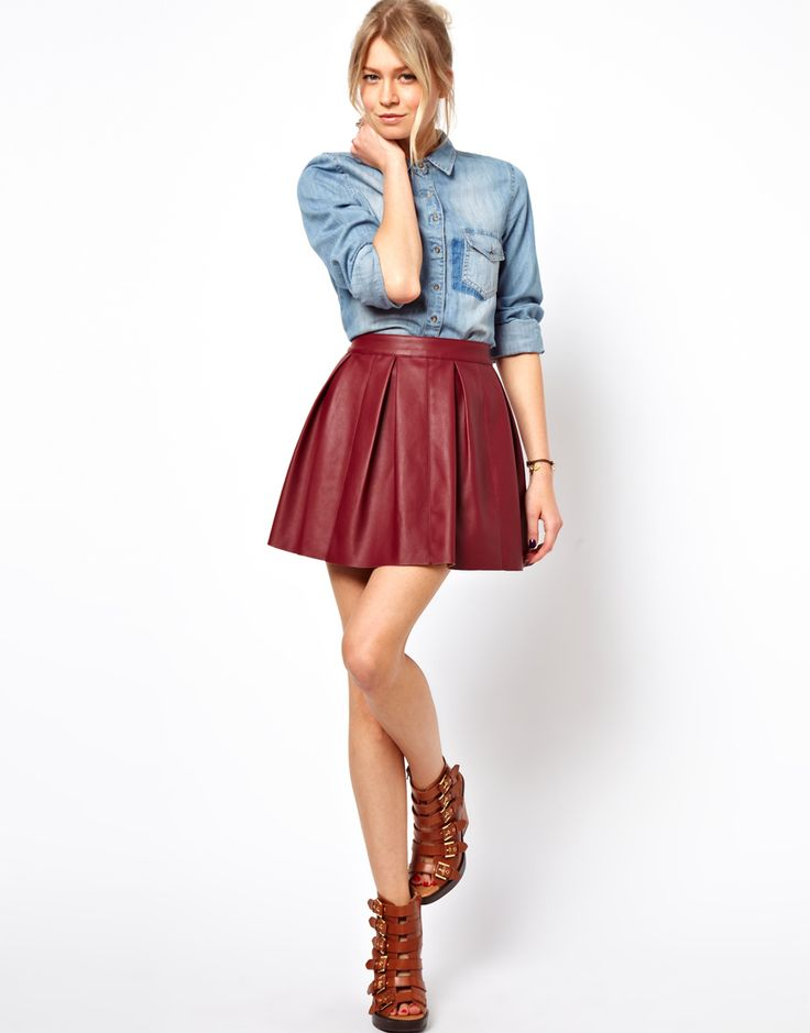 Skater Skirt in Leather Look •Made from a leather-look fabric •Smooth matte finish •Stitched seam detail •Zip back closure •Box pleats •Regular fit Patterned Skirts, Embellished Skirts and Funky Skirts #fashion #beauty #skirts #clothing #apparel #HotMomma #HauteMomma #LifestyleMom #fashionmoms
