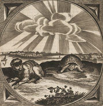 De aap en de schildpad: embleem 48 uit Sinne- en minnebeelden.Les in woord en beeld van Jacob Catsafbeeldingen en wijze woorden, die vindt u in de onlangs verschenen embleembundel Sinne- en minnebeelden van Jacob Cats, een herziene uitgave van zijn Proteus uit 1618.  Sinne- en minnebeelden bevat maar liefst 52 emblemen. De afbeeldingen, motto's, spreuken, gedichten en prozateksten zijn steeds in drie delen opgesplitst: een voor jonge geliefden, een voor huisvaders en -moeders en een voor…