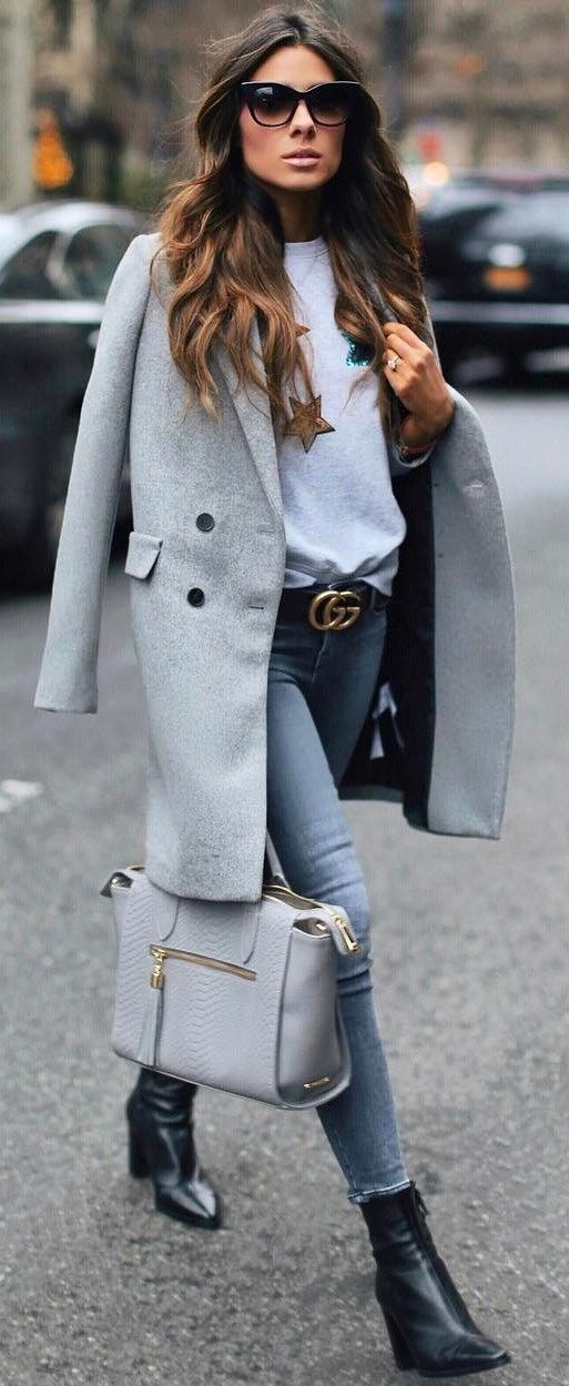 how to wear a grey coat : top + bag + jeans + boots