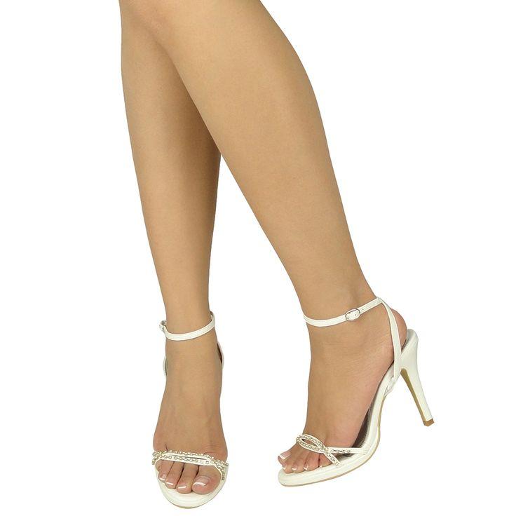 White patent dress shoe with rhinestone strap
