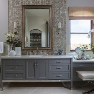 Momento porcelain tile, london grey caesarstone, farrow & ball mole's breath vanity and Comforth white for walls, Philharmonic House of Design: - Cindy Smetana Interiors