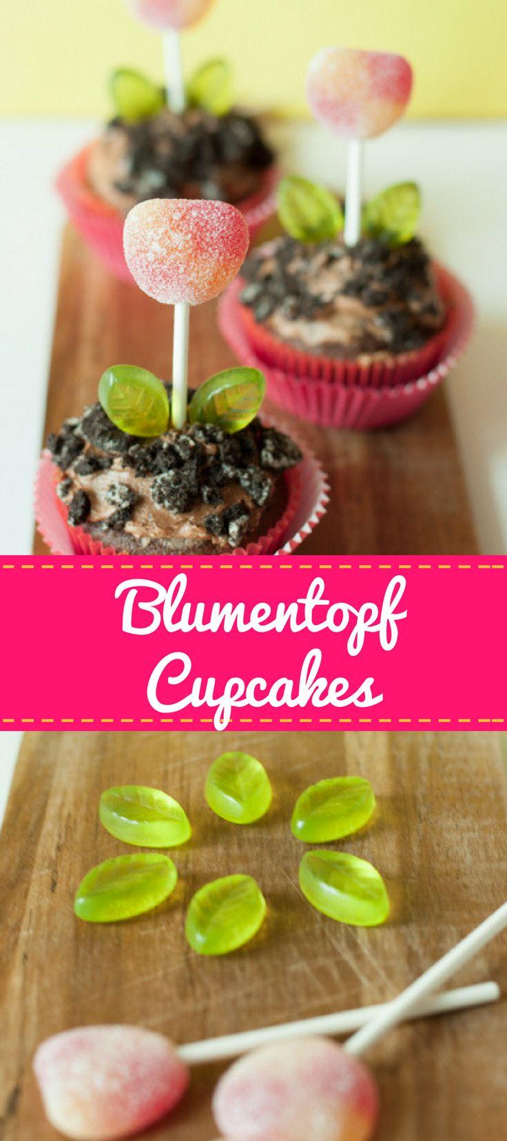 Niedliche Blumentopf Cupcakes für den Frühling. Passen auch zum Muttertag, sowie zum Kindergeburtstag.