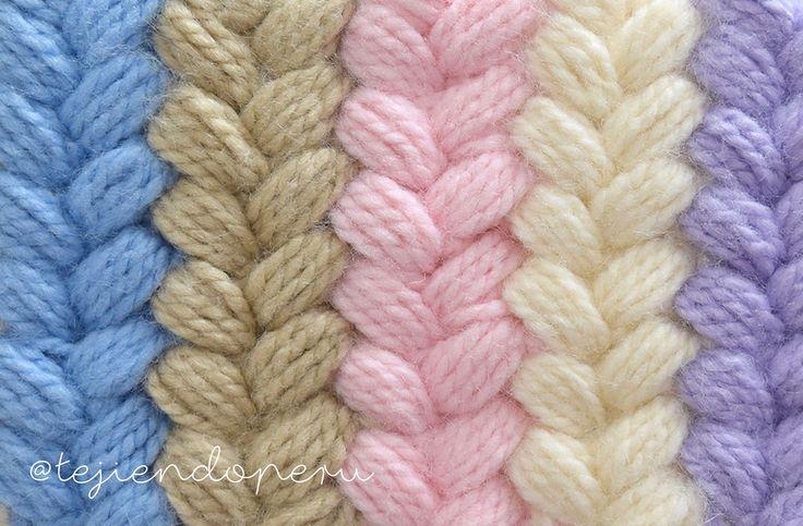 Punto de trenzas puff de colores tejido a crochet Video del paso a paso