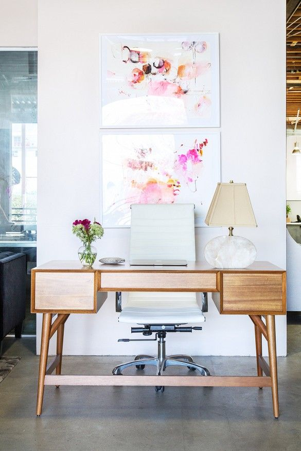 Pink prints in an office