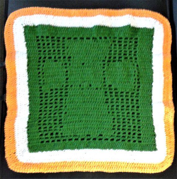 Filet crochet Celtic cross table or wall decoration in Irish