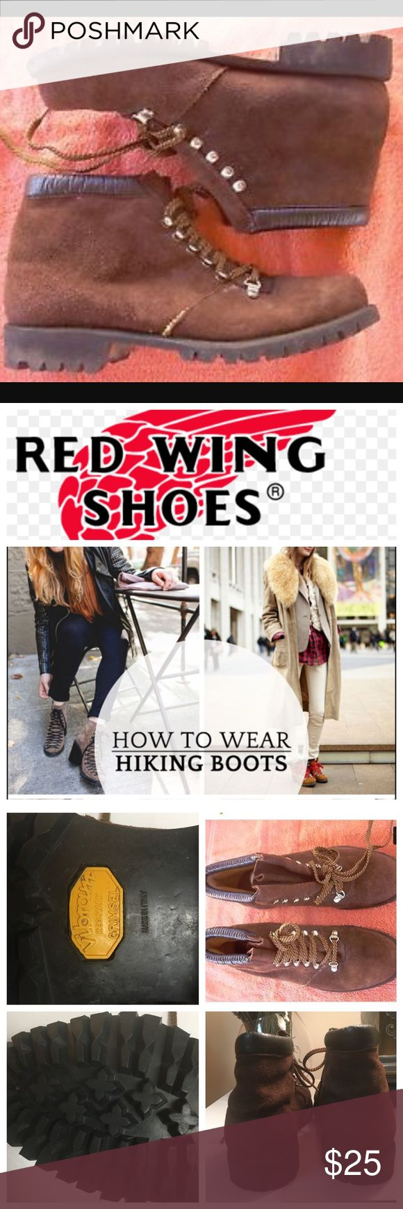 Red wing hiking boots On trend or on the trail! These Red Wing Hiking boots will make you feel on top of the world!! Minimal wear due to being a tad too tight for my comfort! Missing insole because I thought I would give me more room for comfort and now I cannot find it!!! Red Wing Shoes Shoes Ankle Boots & Booties