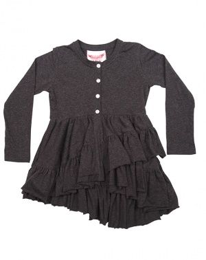 Paper Wings Charcoal Frilled Cardigan