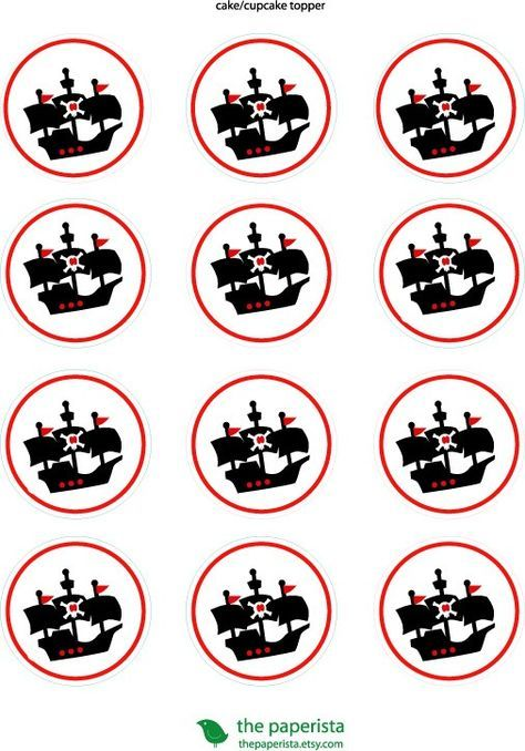Printable Cupcake Topper /Gift Tags Pirate Birthday