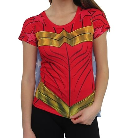 The Wonder Woman Sublimated Caped Women's T-Shirt is a super cool costume style shirt emulating the look of DC Comics' Warrior Princess PLUS a cape! Yeah!!!