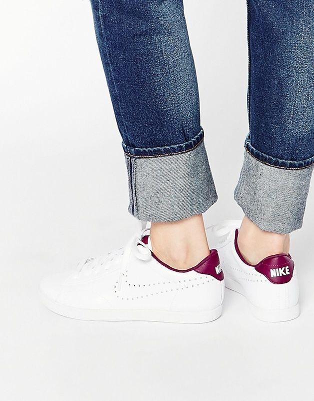 Nike - Racquette - Baskets en cuir avec logo Swoosh et perforations shoping tenuedujour lookdujour mode femme ete achat fashion mignon jolie tendance ootd luxe chaussures baskets