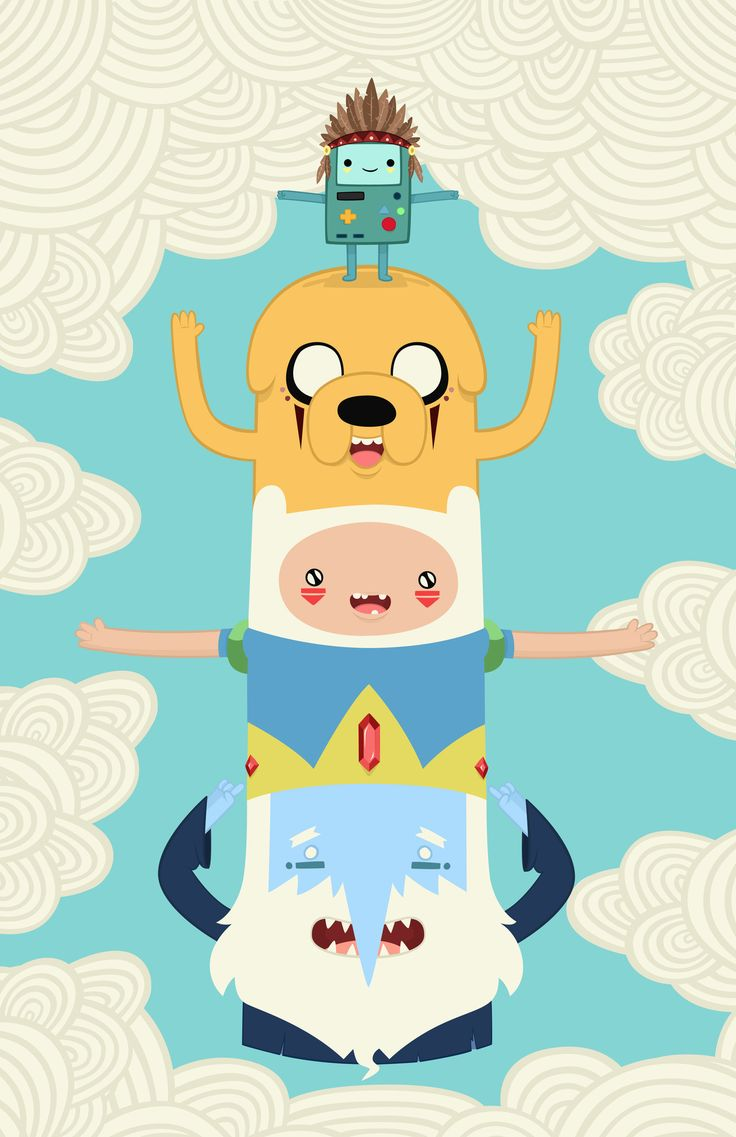 Adventure Time totem print by Daniel Mackey. It's mathematical!