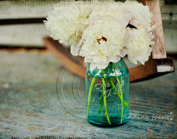 Peonies Aqua Blue Mason Jar Vase, White Peony Flowers Wedding Bouquet Decor, Country Porch Spring Living Room, 11x14 Fine Art Photography