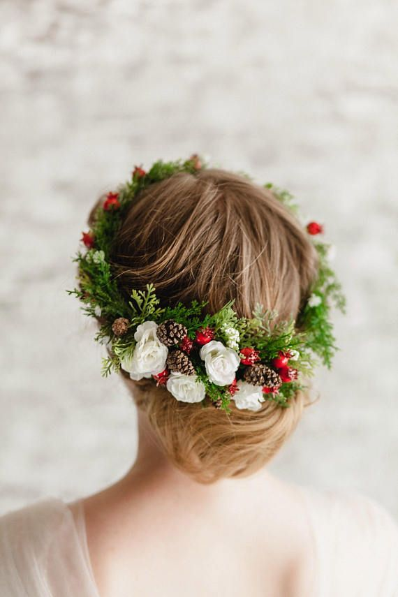 Wedding hair accessories flower girl Halo Christmas wedding Floral Crown WInter floral Halo