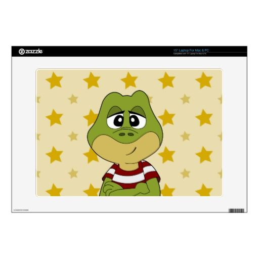 "Green frog cartoon skin 15"" laptop decal"