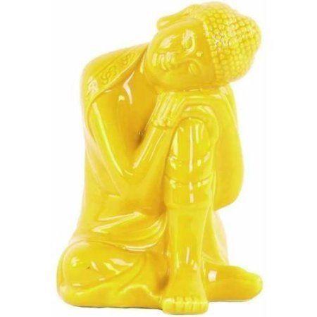 Urban Trends Collection: Ceramic Buddha Figurine, Gloss Finish, White, Yellow