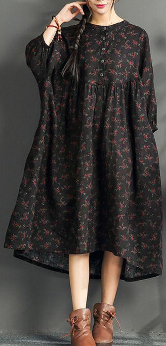 Neues langes Leinenkleid mit schwarzem Aufdruck und Kaftan-Boutiquen mit hoher Taille und O-Ausschnitt