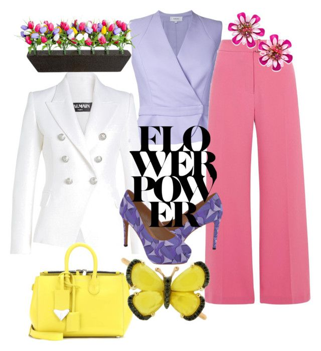 """""""Flower Power"""" by styles-bykim on Polyvore featuring Carven, Balmain, Improvements, River Island, Kate Spade, Calvin Klein 205W39NYC and Christina Debs"""