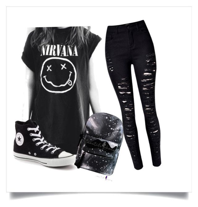 """""""everyday outfit"""" by cupcakesamundson ❤ liked on Polyvore featuring Converse and emo"""