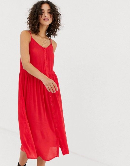 fa5fec2dcfdd Vero Moda button front midi dress in 2019
