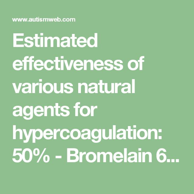 Estimated effectiveness of various natural agents for hypercoagulation:  50% - Bromelain  60% - Wobenzym  70% - Serrapeptase  80% - Nattokinase  95% - Lumbrokinase  Garlic, Vitamin E, Fish Oils, and K2 may be helpful in regulating the coagulation system.